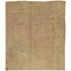 Antique Oushak Carpet, Handmade Oriental Rug, Shrimp Rug, Taupe, Cream Fine Rug