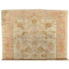 Antique Oushak Carpet, Handmade Oriental Rug, Shrimp, Ivory Taupe, Cream Fine