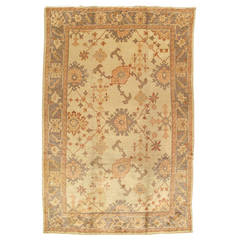 Antique Oushak Carpet, Handmade Oriental Rug, Ivory Gray, Taupe, Cream Fine