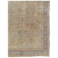 Antique Persian Tabriz Carpet, Handmade Oriental Rug, Beige, Light Blue, Taupe