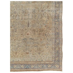 Antique Persian Tabriz Carpet, Handmade Oriental Rug, Beige, Light Blue, Taupe