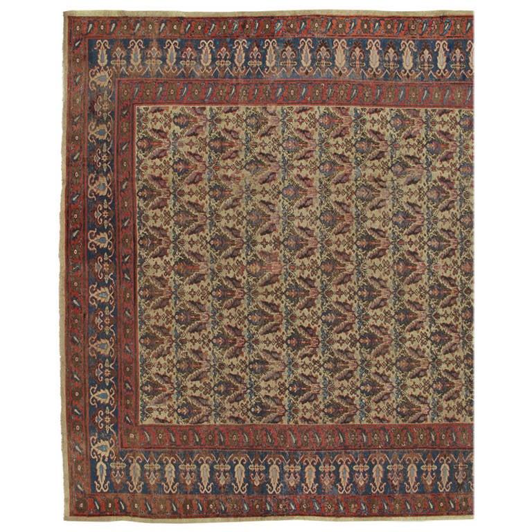 Antique Indian Carpet, Handmade Oriental Rug, Tan, Blue