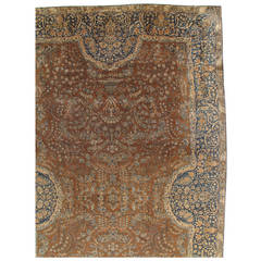 Antique Persian Lavar Kerman Carpet, Handmade Rug, Brown, Taupe, Light Blue Navy