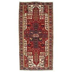 Vintage Heriz Northwest Persian Runner, Handmade Rug, Red Navy, Light Blue Camel