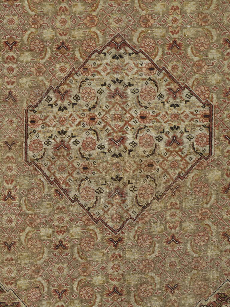 Antique Tabriz Carpet, Handmade Persian Rug in Masculine Gold, Brown and Taupe 2