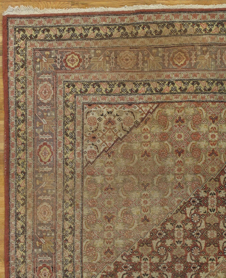Hand-Knotted Antique Tabriz Carpet, Handmade Persian Rug in Masculine Gold, Brown and Taupe For Sale