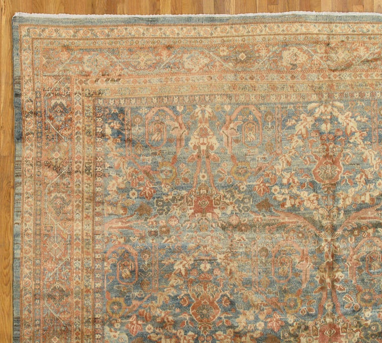 Pasargad Ny Persian Hand Knotted Wool Light Blue Ivory: Antique Persian Sultanabad Carpet, Handmade Oriental Rug