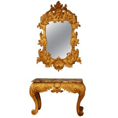 18th Century Giltwood Mirror En Suite with Carved Gilded Marble Top Side Table