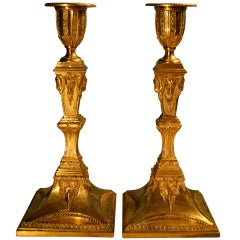 18th Century pair of neo-classical Candlesticks.