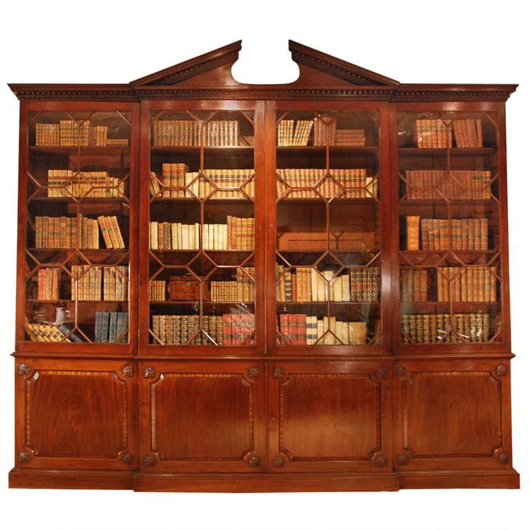 18th Century Architectural Mahogany Breakfront Bookcase, circa 1760s