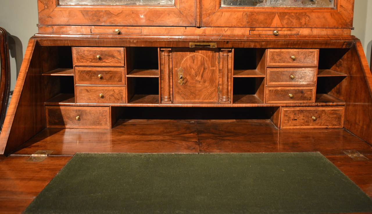 Georgian Early 18th Century Walnut Bureau Bookcase, circa 1730 For Sale