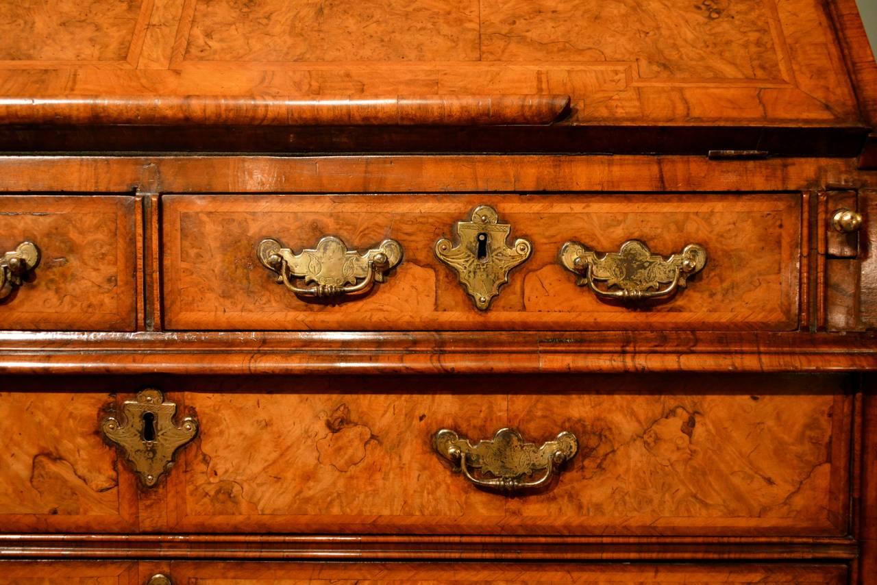 18th Century and Earlier Early 18th Century Walnut Bureau Bookcase, circa 1730 For Sale