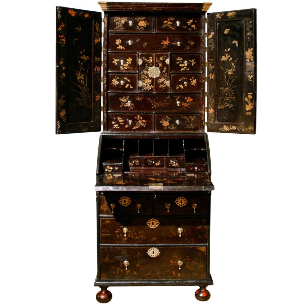 Small Early 18th Century Lacquer Bureau Bookcase, circa 1720