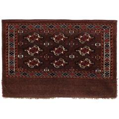 Antique Carpet, Turkmen Rug, Handmade Brown Carpet Rug, Yomut Bag Face