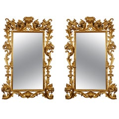 Fantastic Pair Of 18th Century Giltwood Mirrors