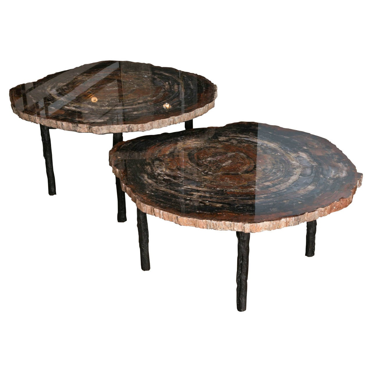 pair of petrified wood low tables for sale at 1stdibs