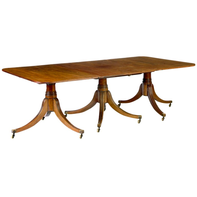 Regency Period Triple Pedestal Dining Table At 1stdibs