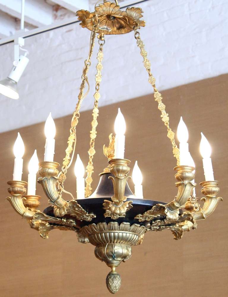 empire period bronze and ormolu nine branch chandelier at 1stdibs. Black Bedroom Furniture Sets. Home Design Ideas