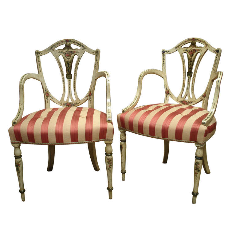 Pair Of George III Style Painted Armchairs In The Manner