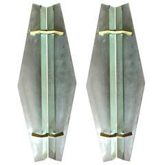 Rare Pair of Wall Lamps, Design Max Ingrained Fontana Arte, 1958