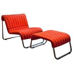 Due Cavalli Lounge Chair & Ottoman by De Pas, D'Urbino, Lomazzi