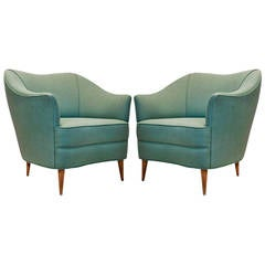 Pair of Upholstered Lounge Chairs by Gio Ponti