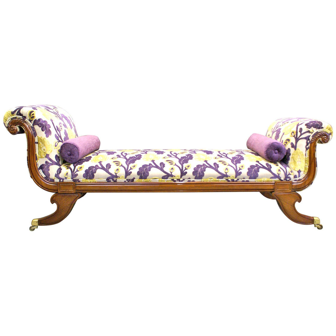 Superb and rare double sided chaise lounge or window seat for Chaises longues doubles