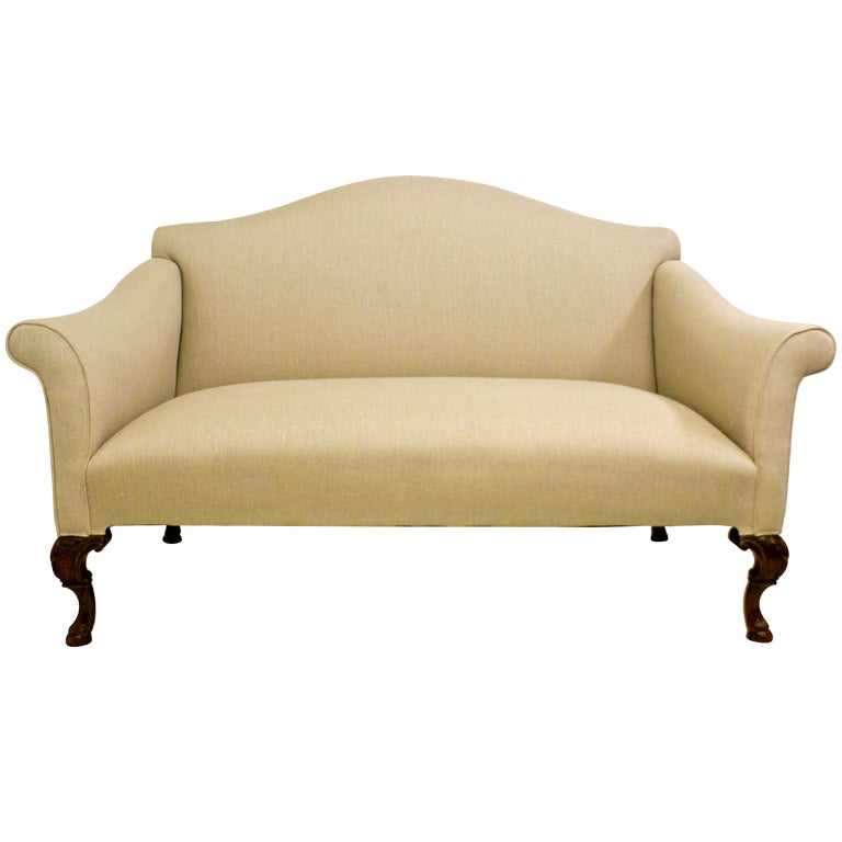 A Queen Anne Style 19th Century Carved Walnut Sofa At