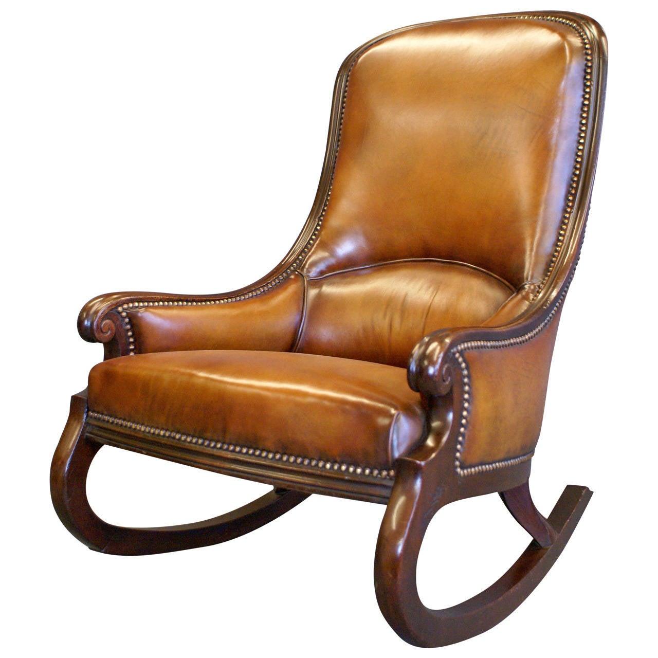 Very rare victorian mahogany rocking chair at 1stdibs