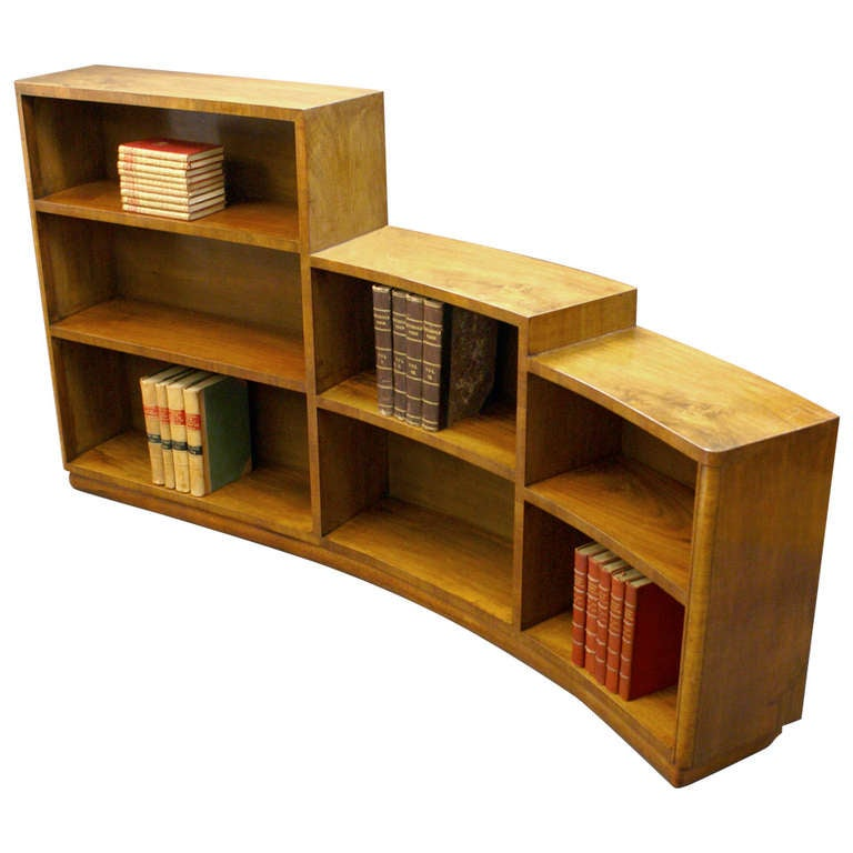 An Unusual Curved Art Deco Bookcase At 1stdibs