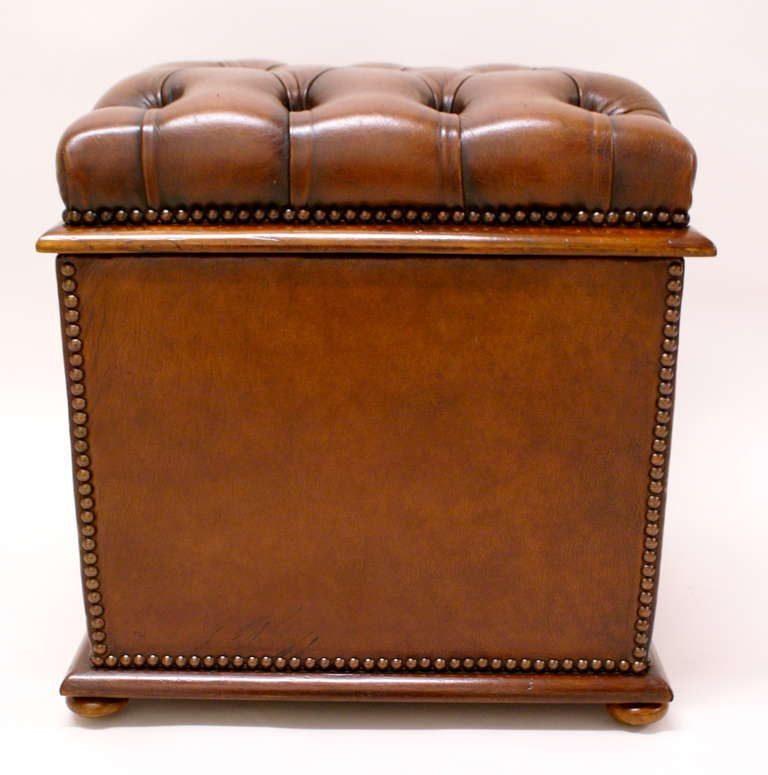 Ottomans Ornate Mahogany Ottoman: A Victorian Mahogany And Leather Covered Ottoman At 1stdibs