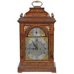 A Magnificent Red Japanned Eight Day Clock By Robert Wood