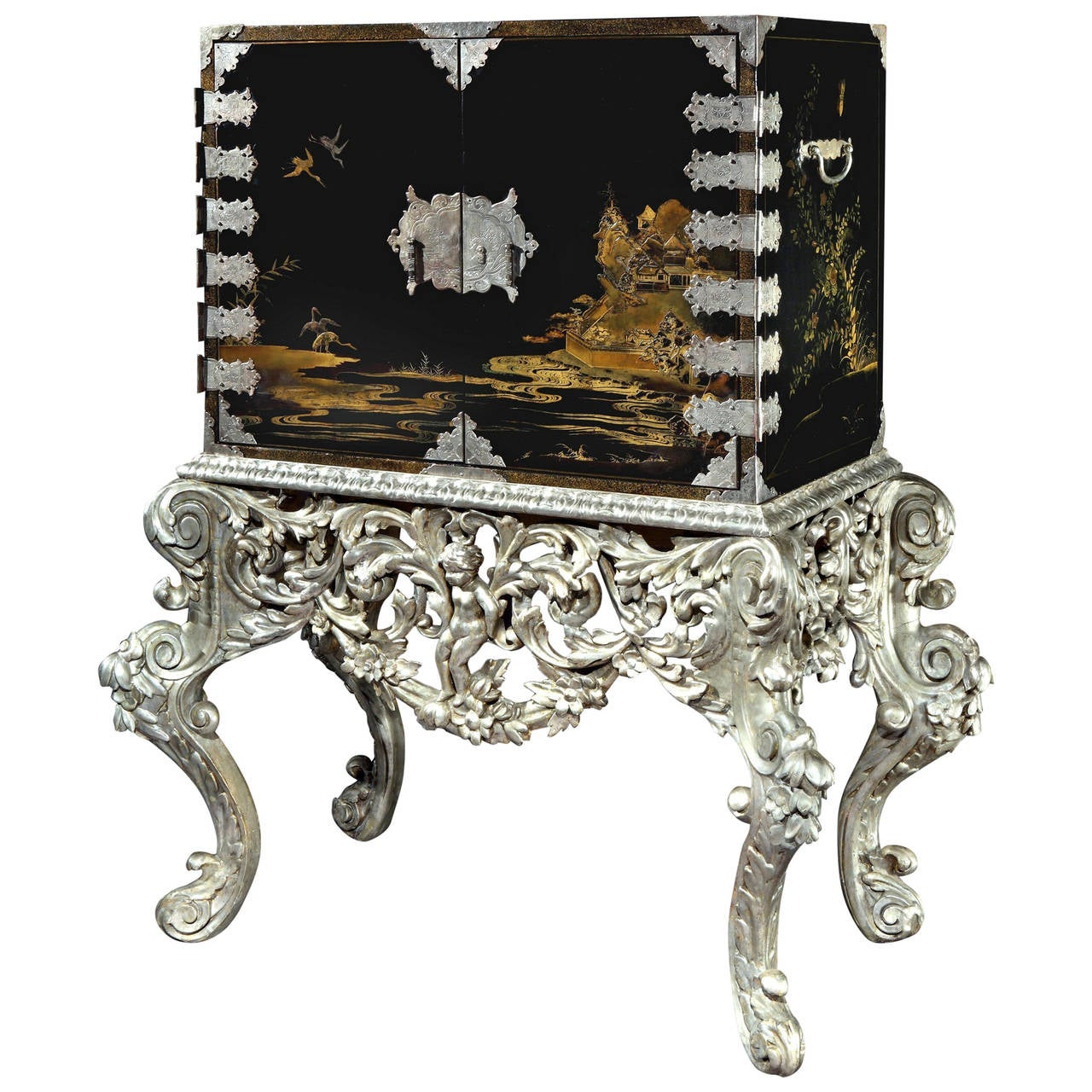 Japanese Lacquer Cabinet on Silvered Stand For Sale