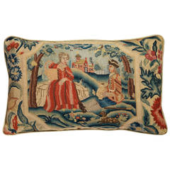 18th Century English Needlepoint Cushion of a Country House Landscape