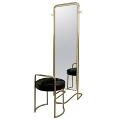 Louis Sognot Mirror with Ottoman