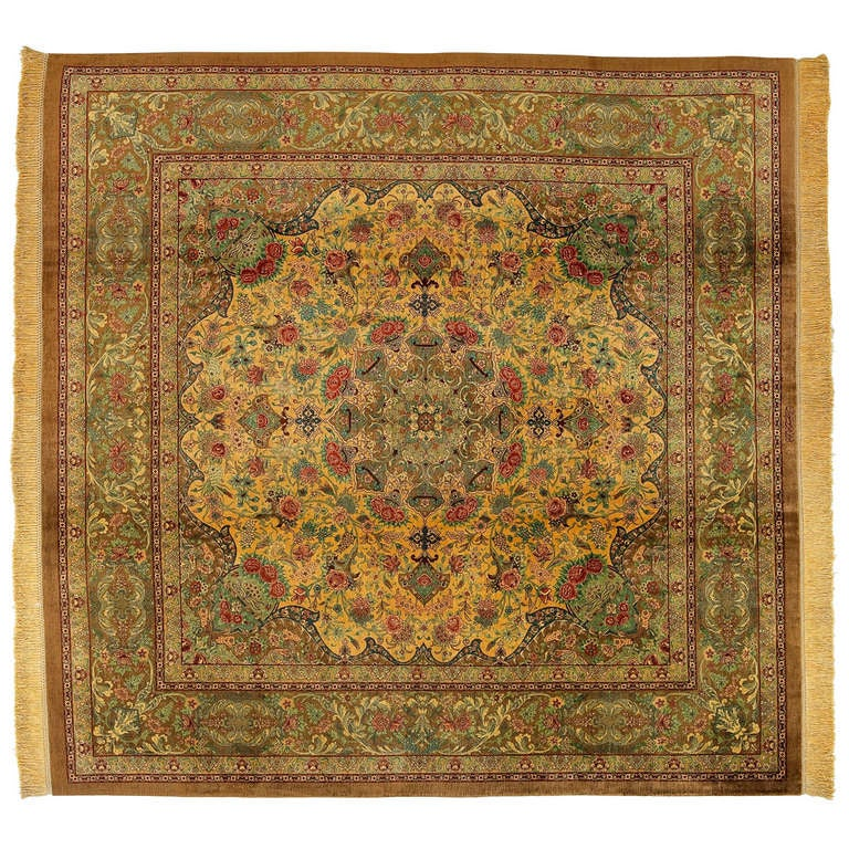 20th Century Floral Pure Silk Beige and Green Qom Rug, 1990
