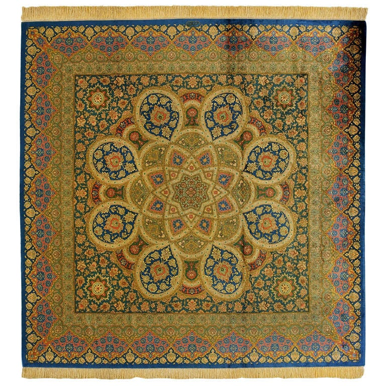Green and Gold Pure Silk Qom Rug, 1990