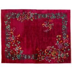 Walter Nichols Art Deco Red Wool Chinese Rug, 1930s