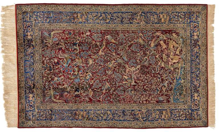 Crafted in the heart of Persia, this outstanding vintage medallion carpet redoubles the beauty of Isfahan's superfluous curvilinear designs. 