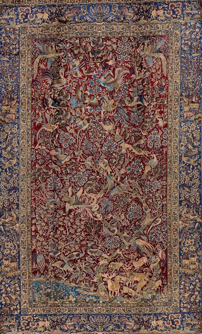 Empire Antique Isfahan Pure Silk Rug For Sale
