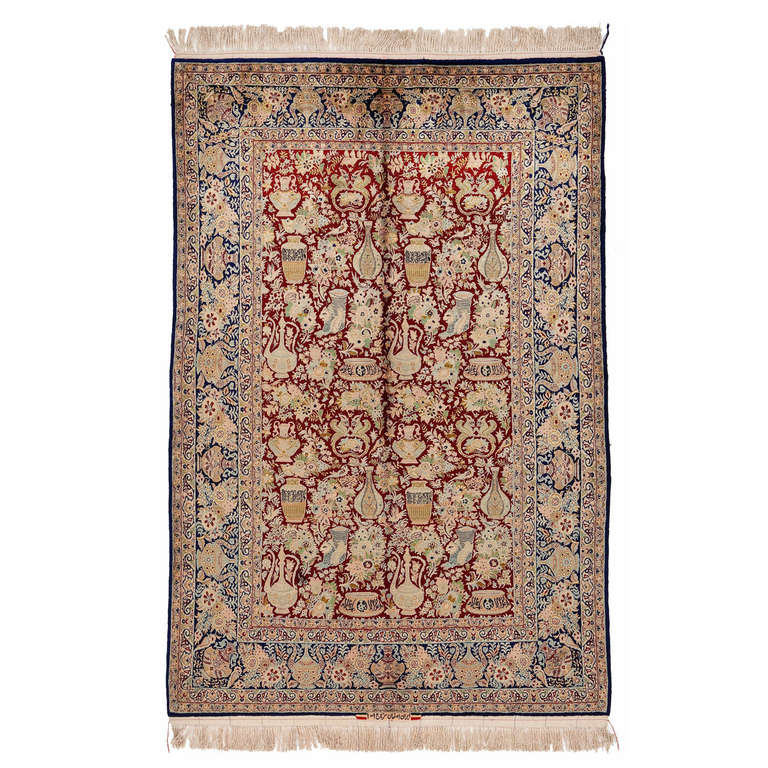 Antique Red and Blue Pure Silk Isfahan Rug, 1970