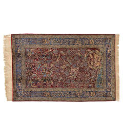 Antique Isfahan Pure Silk Rug