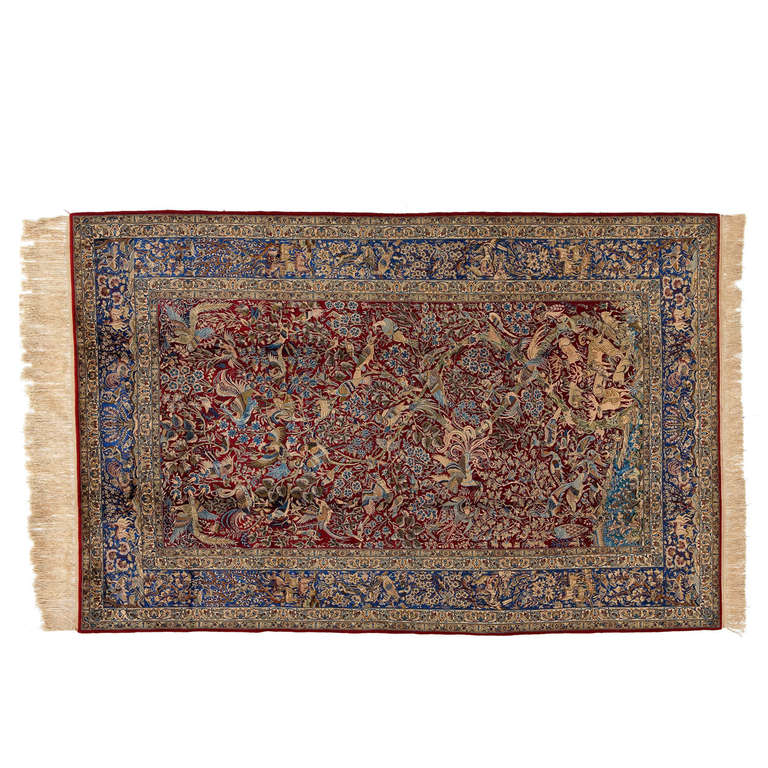 Antique Isfahan Pure Silk Rug For Sale