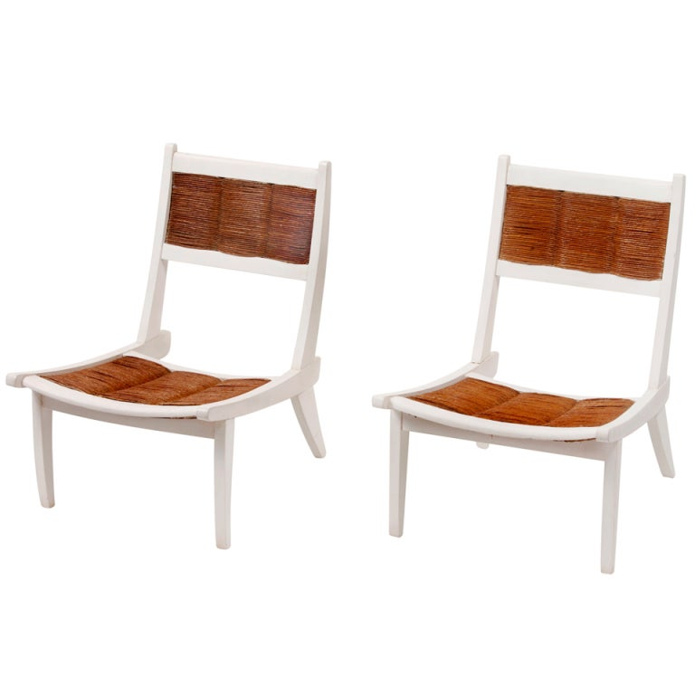 Pair Of Japanese Inspired French Easy Chairs Circa 1950 At 1stdibs
