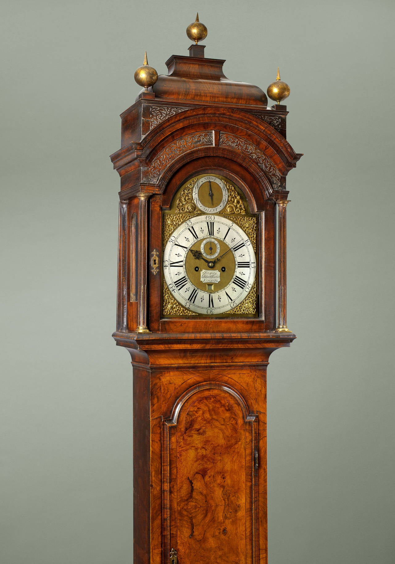 George II walnut longcase clock by James Blackborow, London