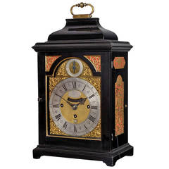 George II Period Antique Ebony Bracket Clock by Nicholas Lambert, London