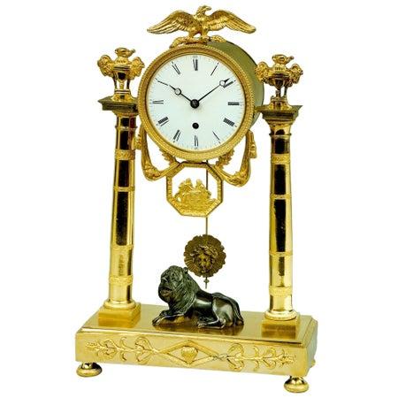 Regency ormolu mantel clock by Baetens of Soho, London
