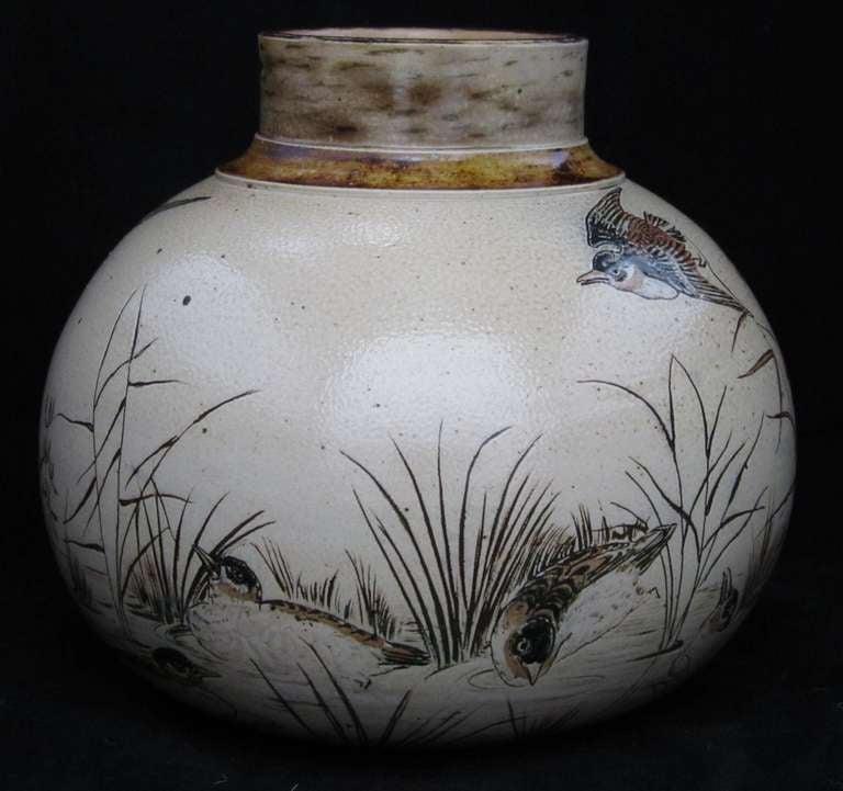 brothers martin vase decorated birds 1stdibs vases