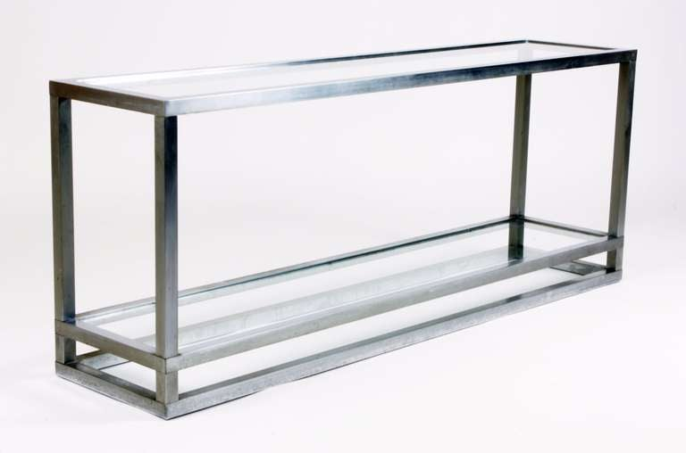 aluminium and glass console table 1970 39 s at 1stdibs. Black Bedroom Furniture Sets. Home Design Ideas
