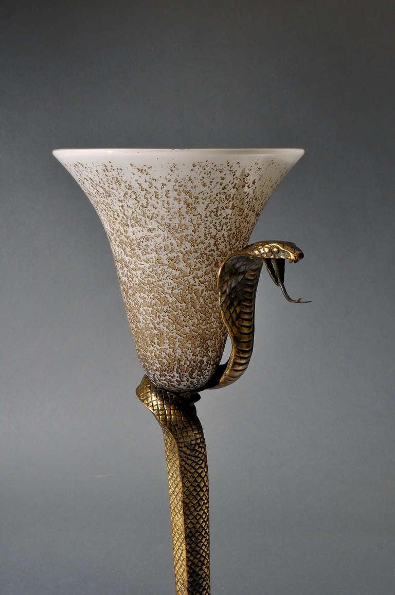 Edgar Brandt And Daum Nancy Original Quot Cobra Quot Lamp At 1stdibs